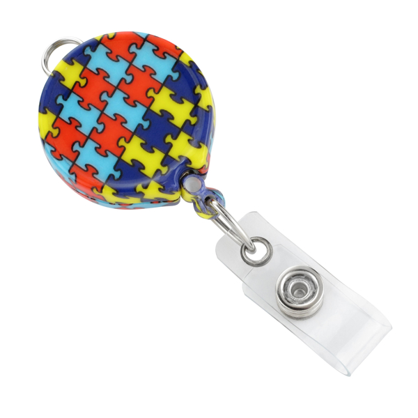 Picture of Round Autism Awareness Badge Reel with Belt Clip & Clear Vinyl Strap