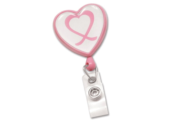Picture of Pink Heart Shaped Breast Cancer Awareness Badge Reel