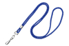 "Picture of 1/8"" Round Cord - Metallic Silver mixed with your choice of Black, Royal Blue, Navy Blue, Red or Purple - 36"" Lanyard with Nickel Plated Steel Swivel Hook."